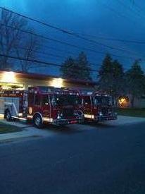 Engine and Squad 34 in front of the station.